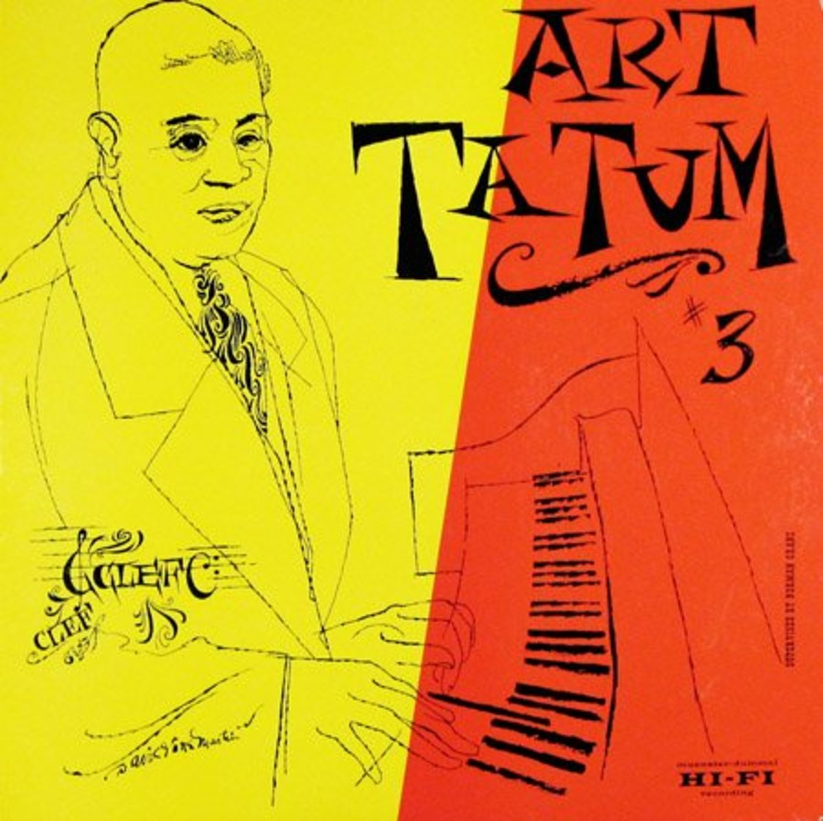 "Art Tatum ""The Genius of Art Tatum, vol. 3"" Clef  614 12"" LP Vinyl Record (1954) Album Cover Art by David Stone Martin"