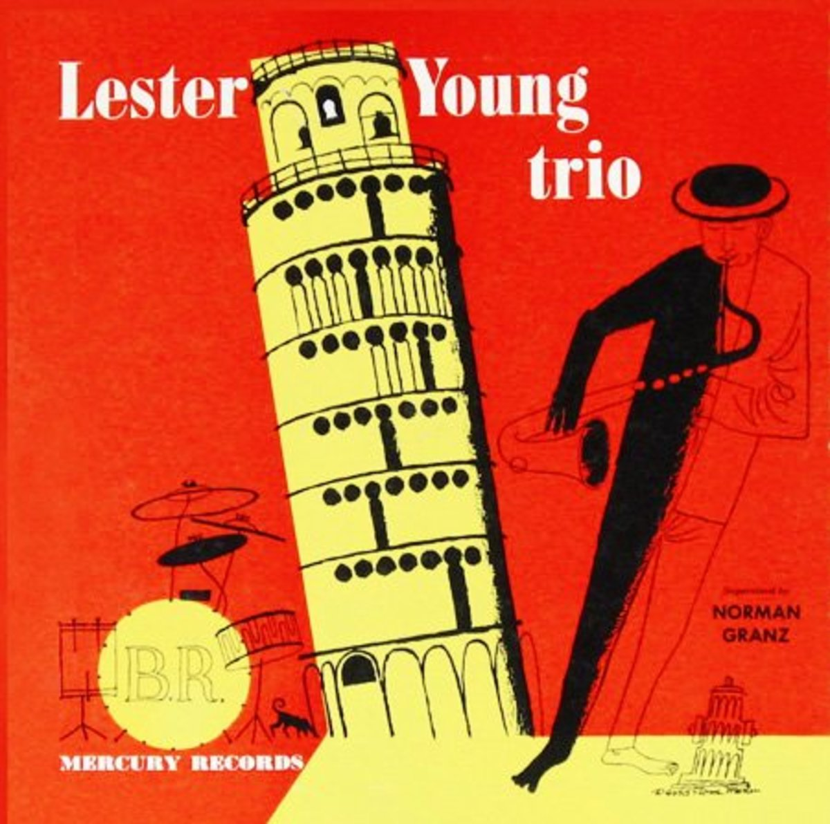 "Lester Young ""Lester Young Trio"" Mercury 104 10"" LP Vinyl Record (1952) Album Cover Art by David Stone Martin"