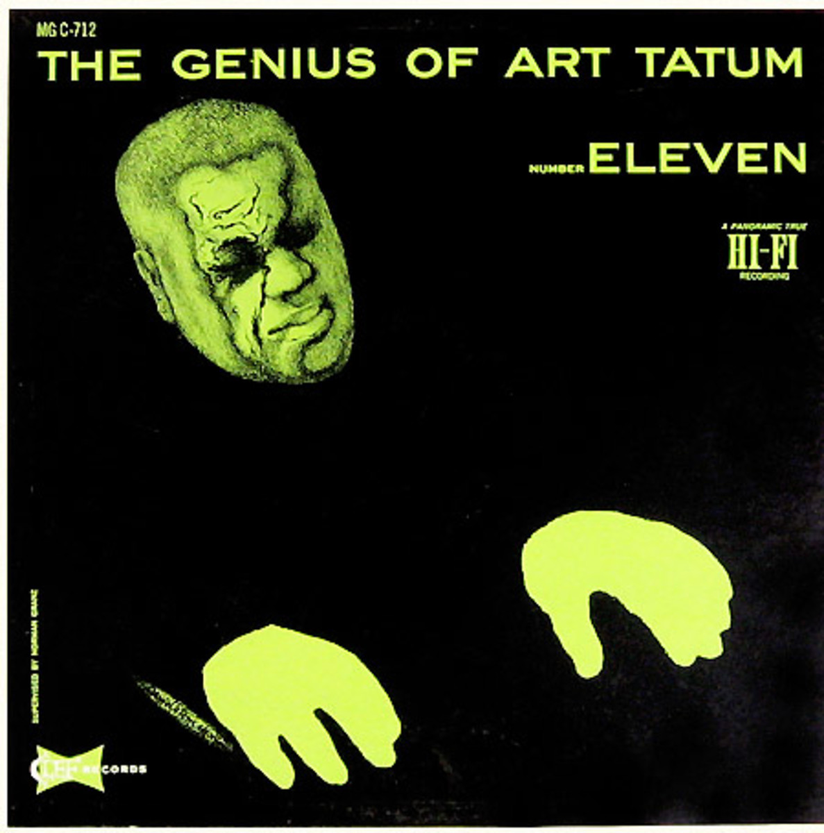 "Art Tatum ""The Genius of Art Tatum, No. 11"" Clef Records MG C 712 12"" LP Vinyl Record (1956) Album Cover Art by David Stone Martin"