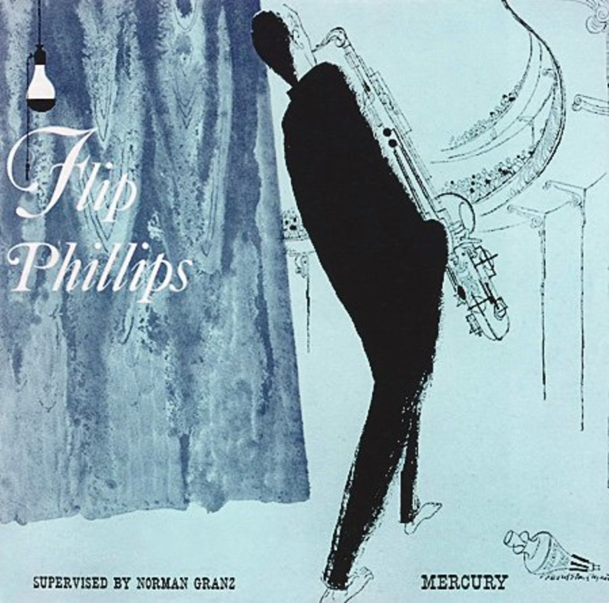 "The Flip Phillips Quartet   Mercury Records 25023 10"" LP Vinyl Record (1950) Album Cover Art by David Stone Martin"