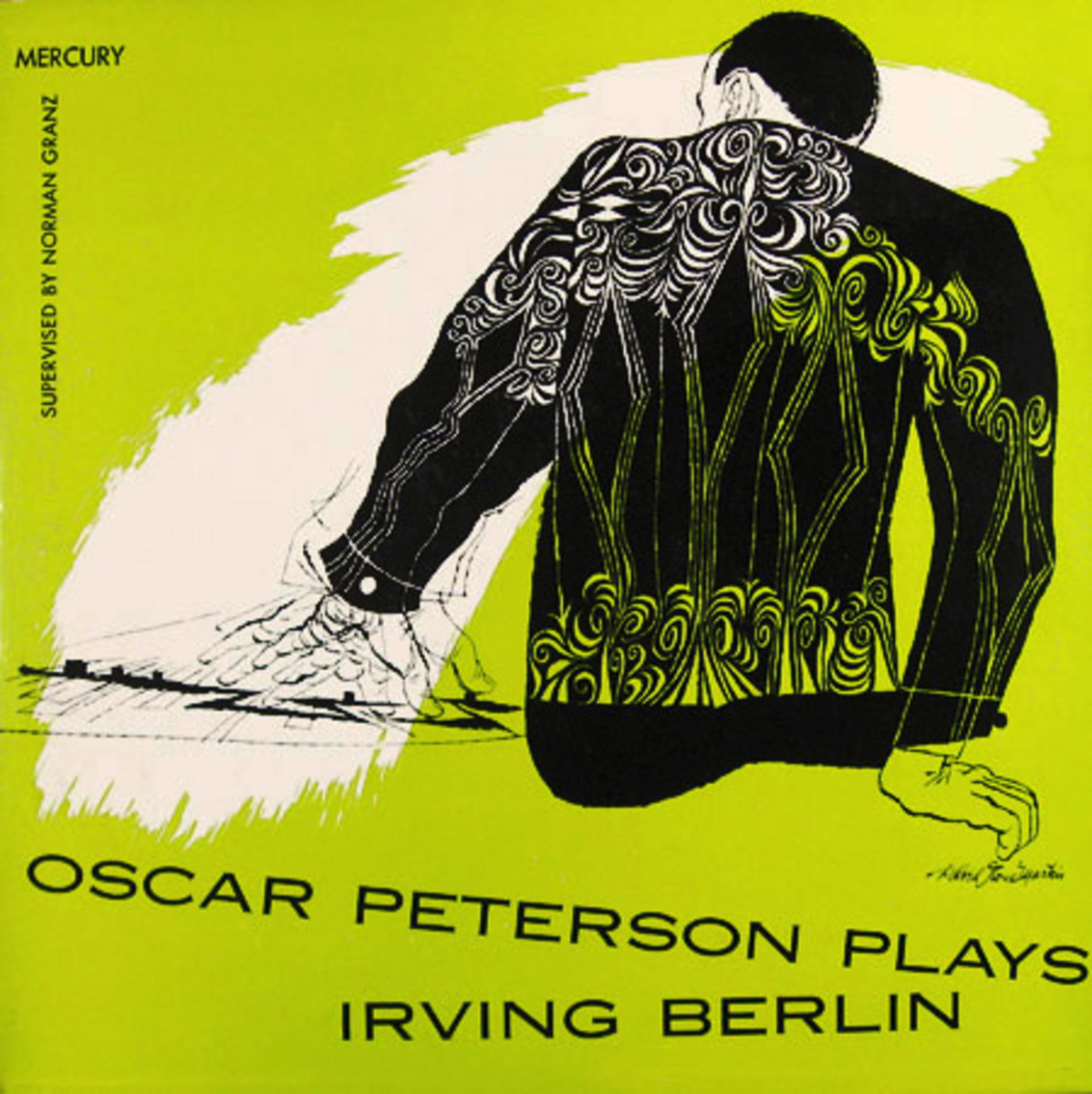 "Oscar Peterson ""Oscar Peterson Plays Irving Berlin"" Mercury Records MG C 604 7"" EP Record (1953) Album Cover Art by David Stone Martin"