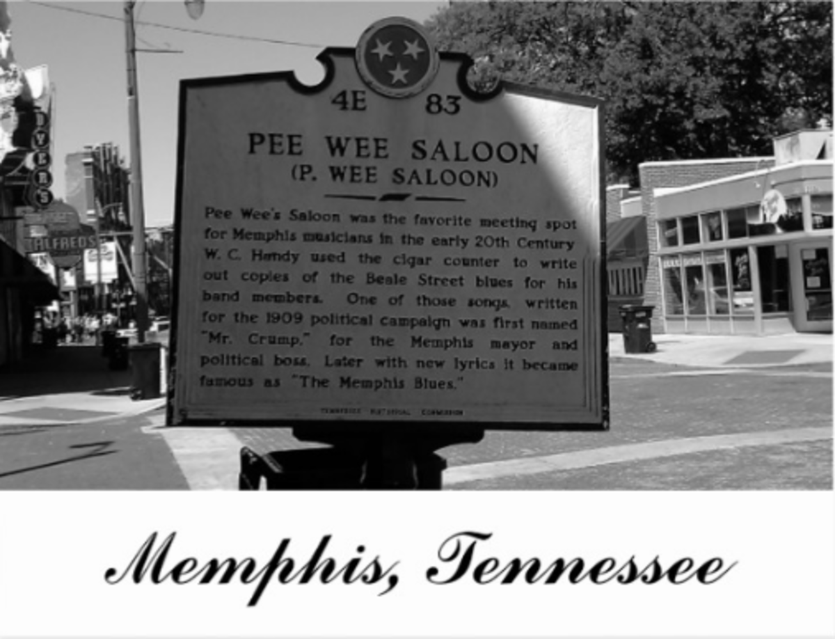 An historical marker on Beale Street in Memphis, TN indicates the spot where Pee Wee's Saloon was located and where the blues was first penned.