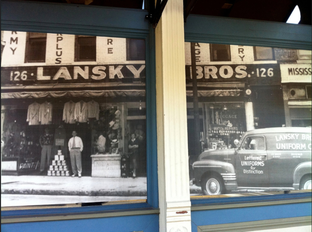 Lansky Brothers store opened at 126 Beale Street in 1946 as an army surplus store.