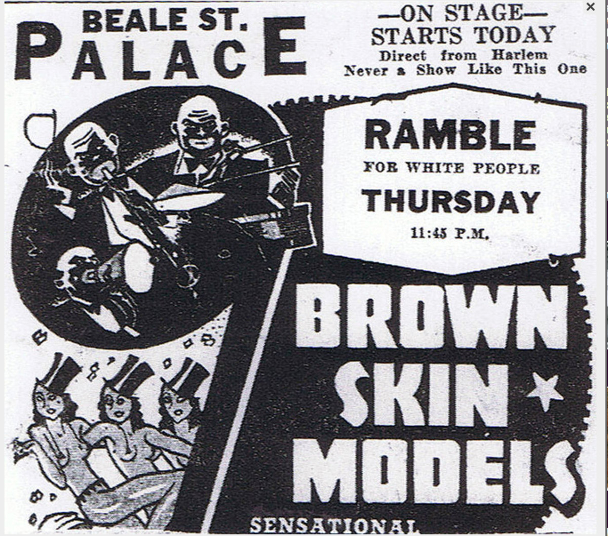 The Brown-Skin Models danced at the Palace Theater on historic Beale Street during the popular and well-attended Midnight Rambles, where they were joined on stage by celebrities such as Ella Fitzgerald, Count Basie, and other famous acts.