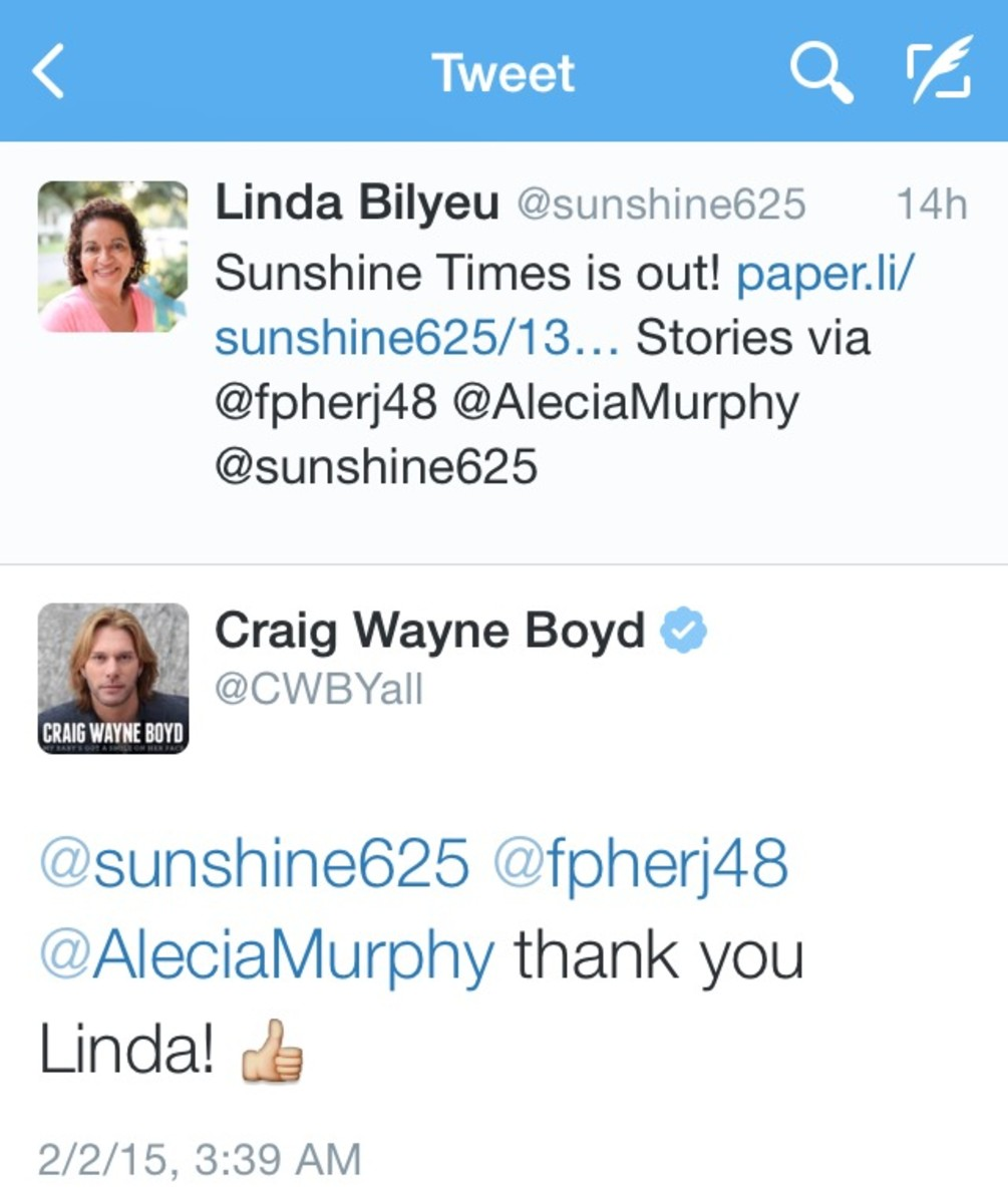 Craig Wayne Boyd expressed his appreciation of my tribute article via Twitter! You're welcome, Craig. Keep on shining...