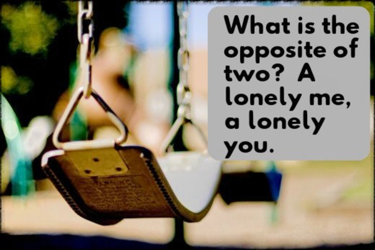 """What is the opposite of two? A lonely me, a lonely you."""