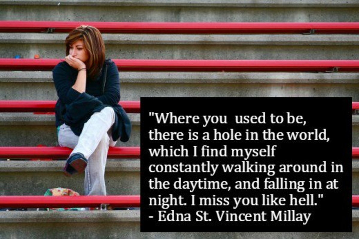 """""""Where you used to be, there is a hole in the world, which I find myself constantly walking around in the daytime, and falling in at night. I miss you like hell."""" - Edna St. Vincent Millay"""