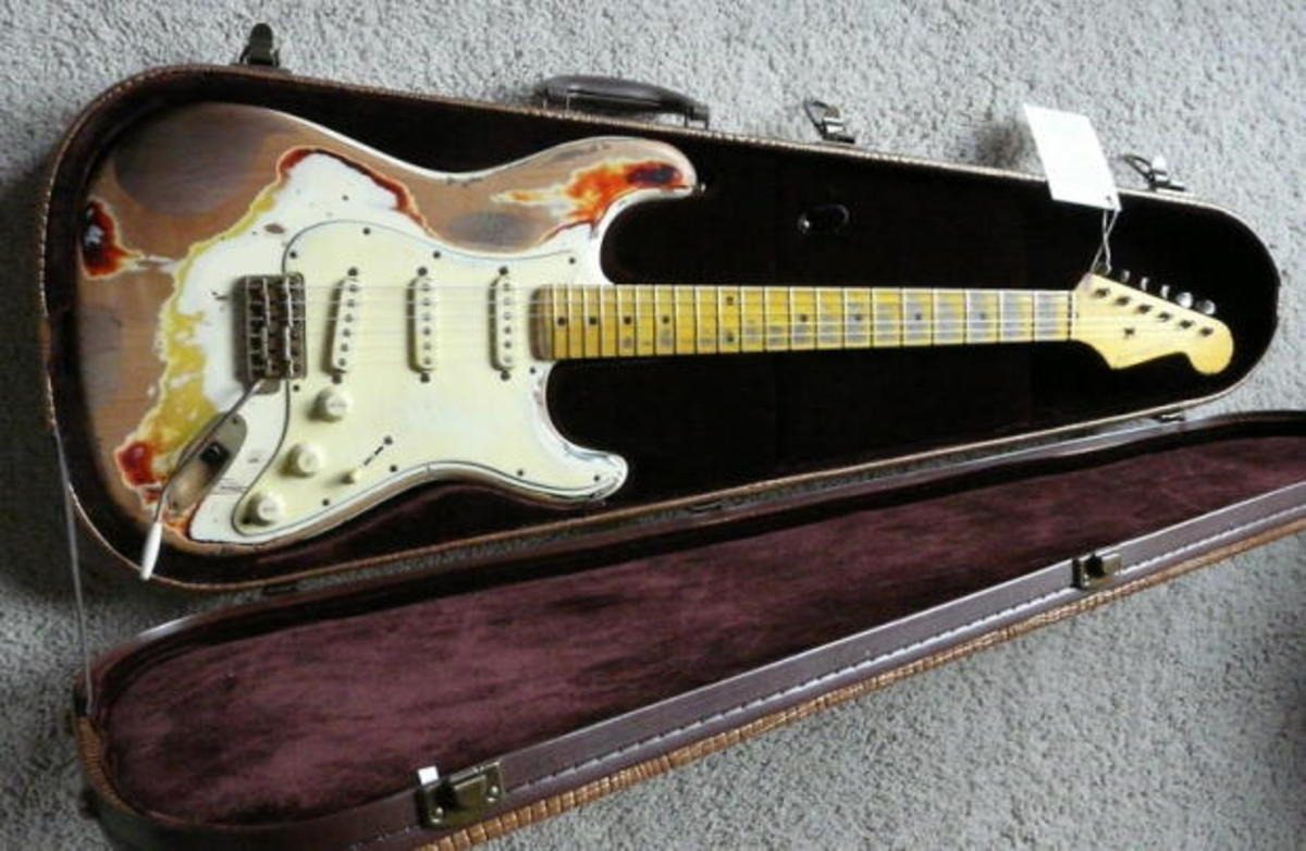 This guitar is an example of a 'heavy relic.' It is brand new, but made to appear very old and very worn in. One can get a much more 'lite' relic from Nash guitars, and in the same S-63 model too.
