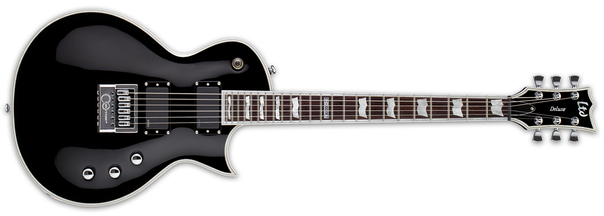 ESP LTD EC-1000 EverTune electric guitar in ebony finish.