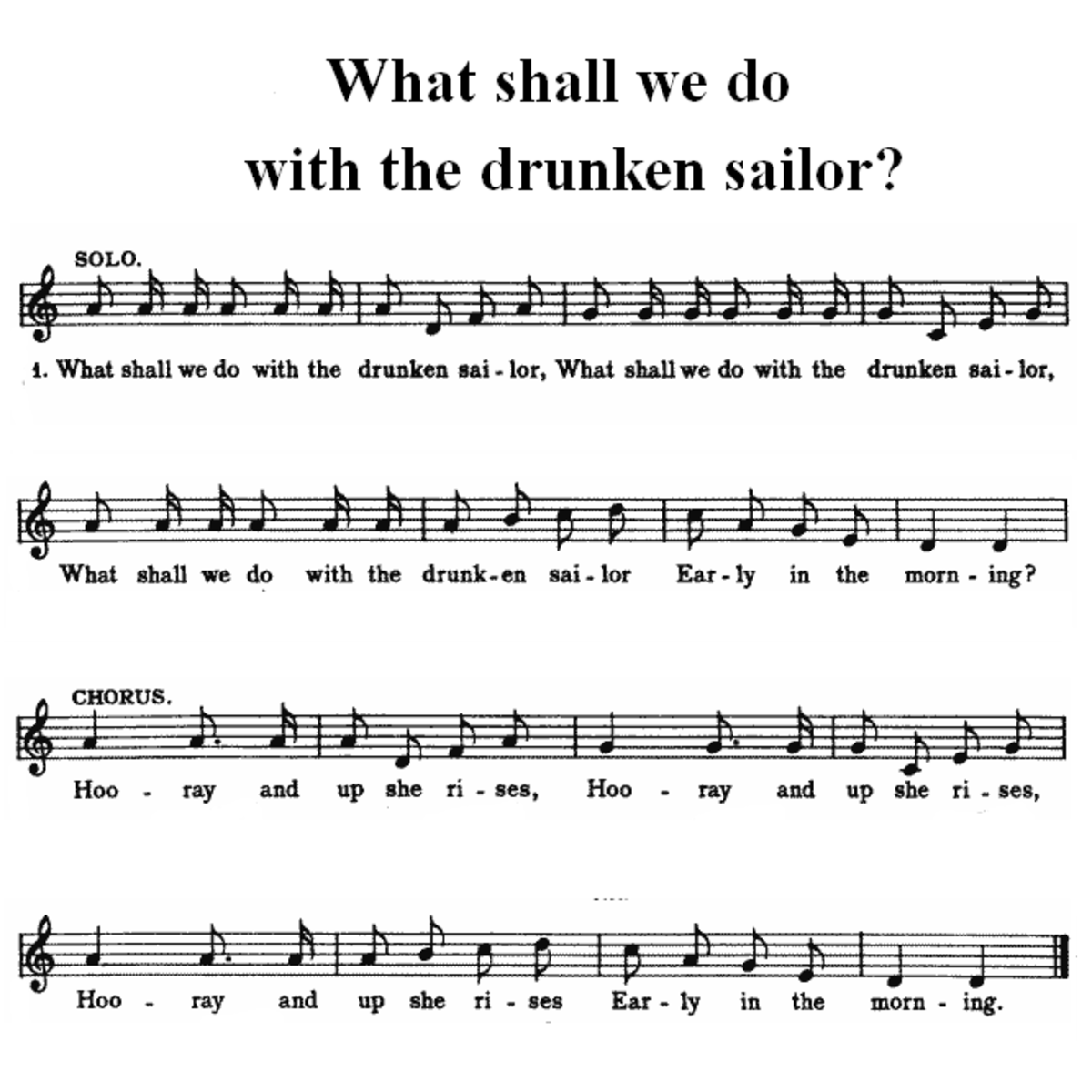 A simple musical score for What Shall We Do With the Drunken Sailor?