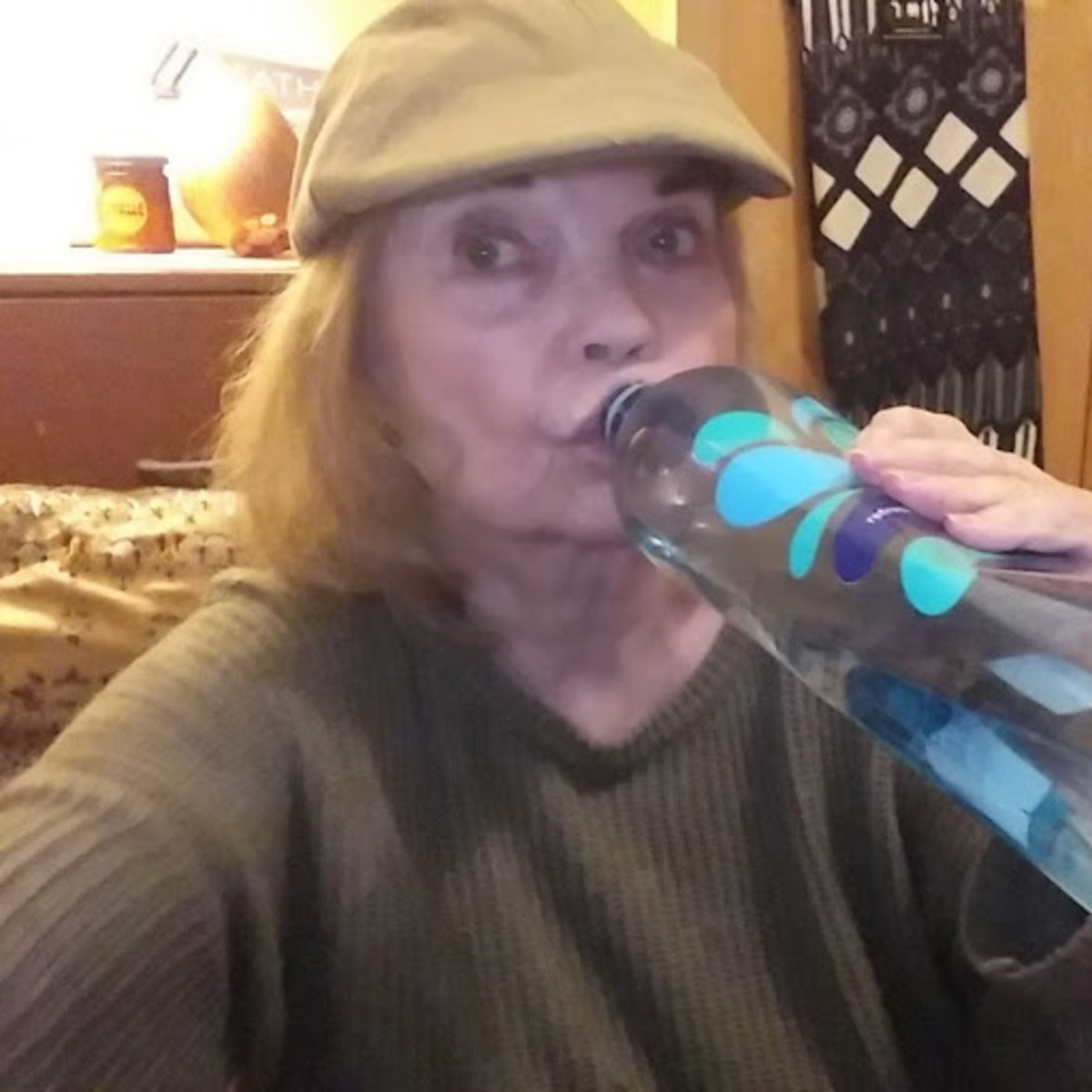Sipping room-temperature water during my rehearsal.