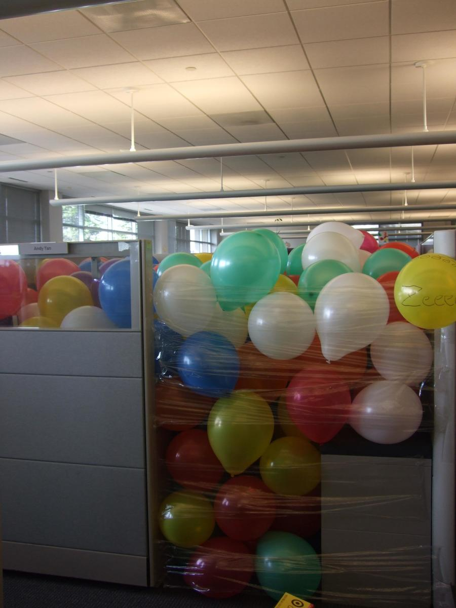 Celebrate an April Fools birthday in real style with a balloon-filled room or cubicle.