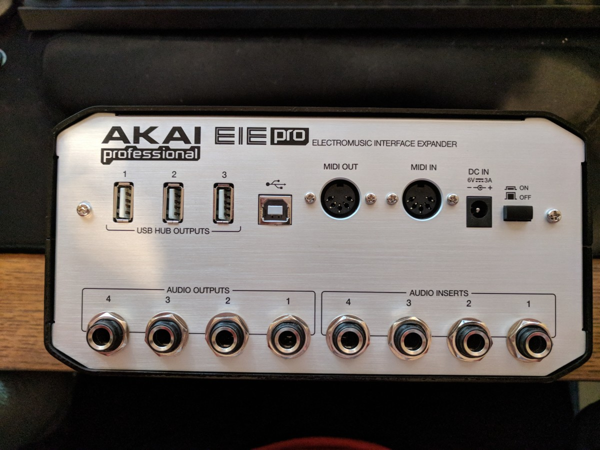 The rear panel of the EIE Pro holds all your audio insert jacks, individual audio outputs, MIDI connections, and a very useful collection of USB hub sockets.