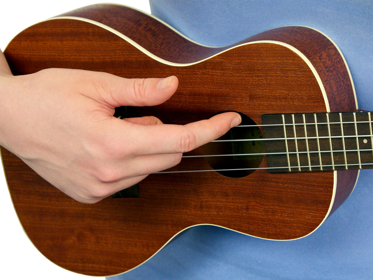 Example of strumming with your pointer finger.