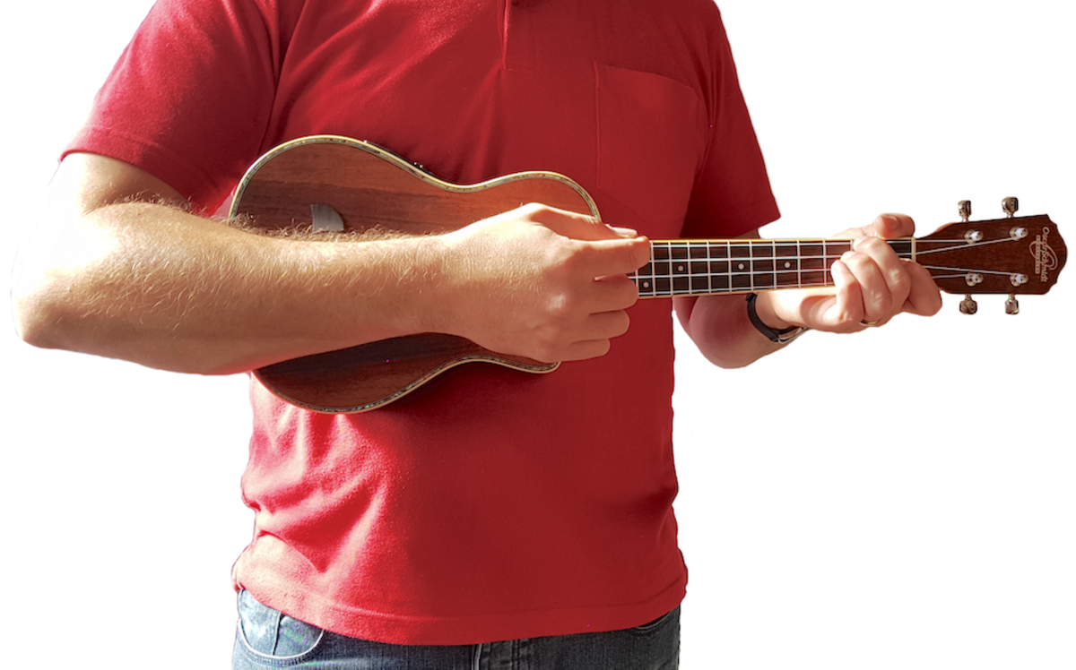 Example of how to hold a ukulele.