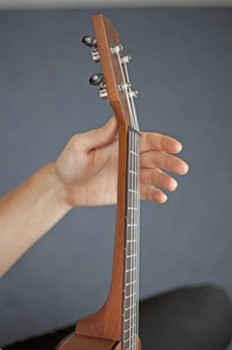 Your thumb should be in the middle back of the ukulele when you're holding it.