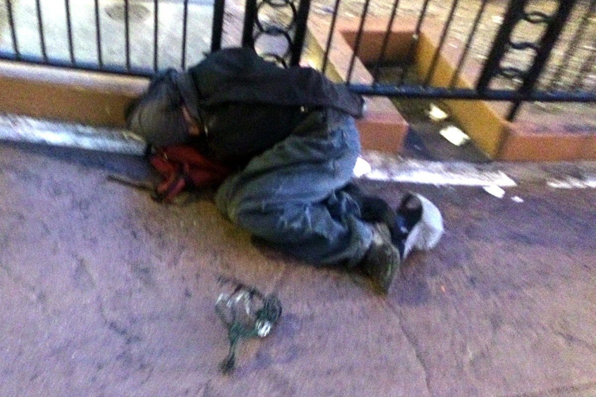 A homeless person in Las Vegas