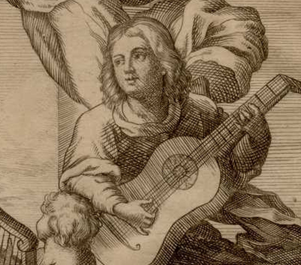 This image detail appears on the frontispiece of Sanz' Instrucción de Música. It's not certain if it represents him.