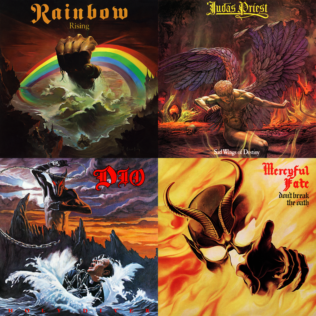 Clockwise from top-left: Rising by Rainbow (1976); Sad Wings of Destiny by Judas Priest (1976); Don't Break the Oath by Mercyful Fate (1984); and Holy Diver by Dio (1983).