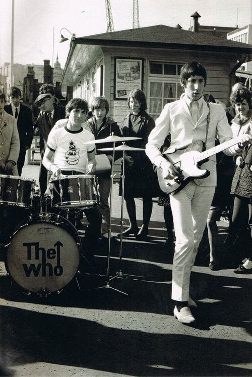 Pete Townshend with a Telecaster, and young Keith Moon on drums.