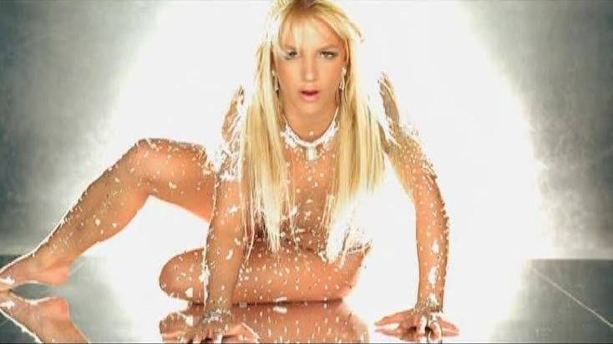 "The pop star naked and covered in jewels for the video ""Toxic."""