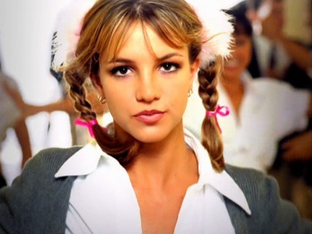 "Spears in her smash debut single ""...Baby One More Time."""