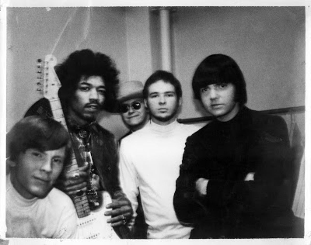 (left to right): Keyboardist Tom Moore, Jimi Hendrix, Bassist Don Summers, guitarist and lead singer Billy Gibbons, and drummer Dan Mitchell. Photographer unknown.