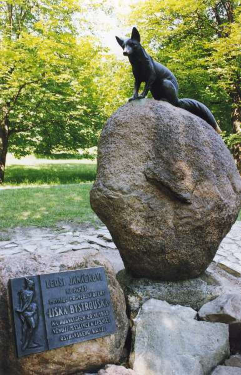 "Monument of Bystrouška, Janáček's Opera ""The Cunning Little Vixen"" at Hukvaldy where Janáček's hometown."