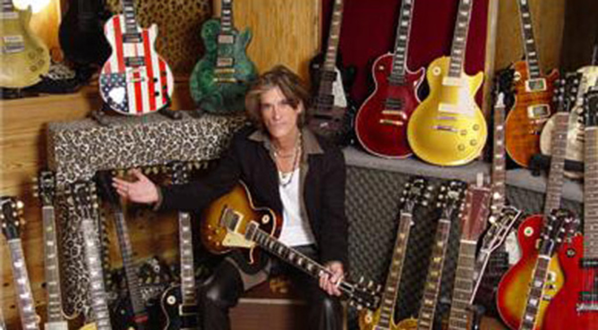 Joe Perry with his 1959 Gibson Les Paul.