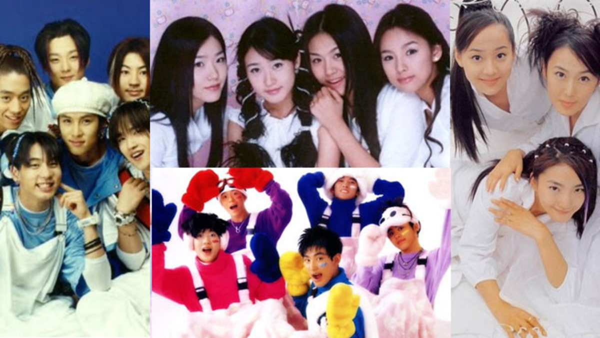 1st generation K-Pop groups (form left) Seckskies, (top to bottom) Fin.K.L. , H.O.T. , (right) S.E.S.