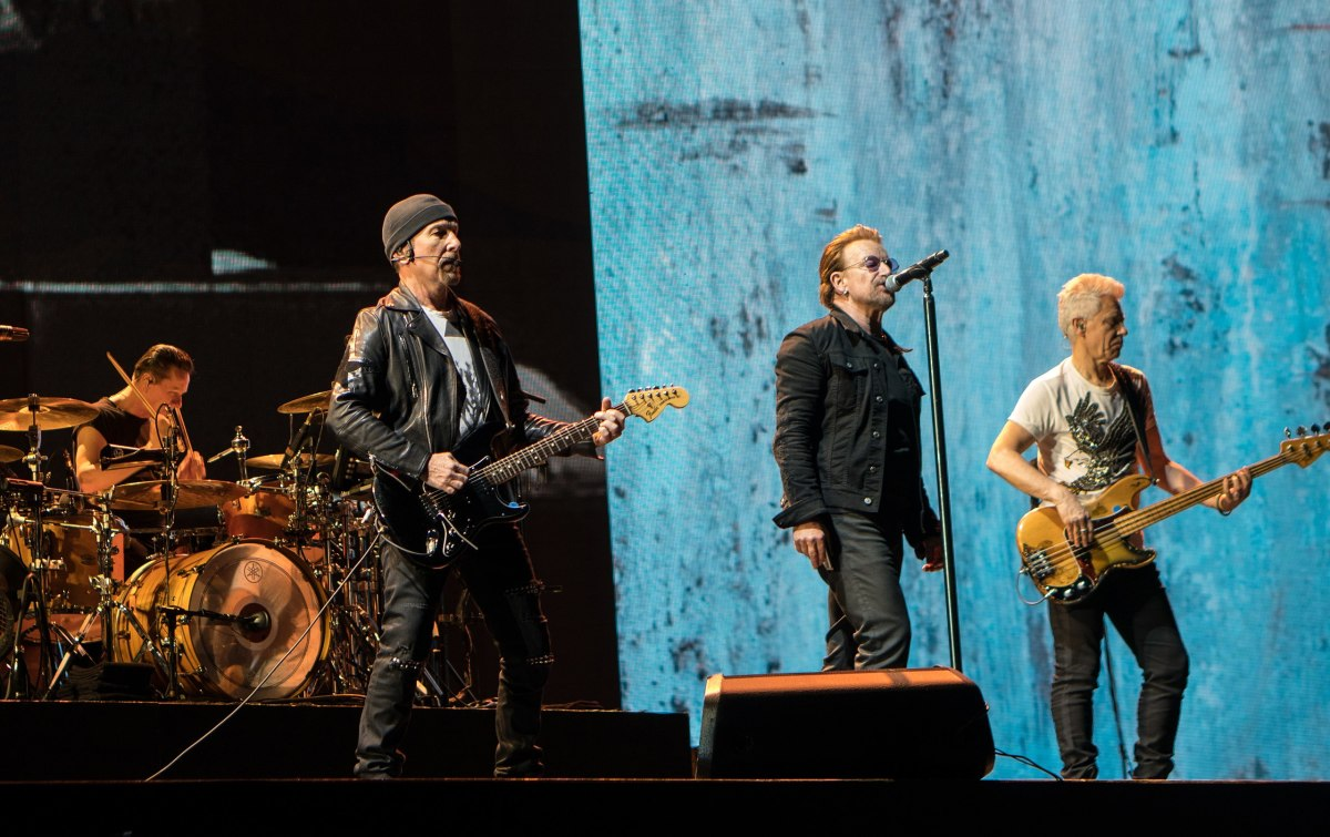 U2 performing on the Joshua Tree Tour 2017 in Brussels, Belgium on August 1, 2017.