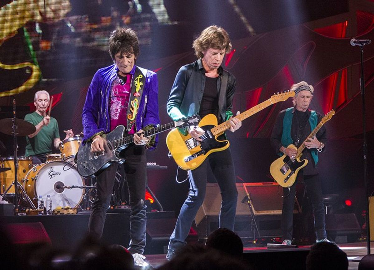 Rolling Stones performing on stage in Milwaukee, Wisconsin.