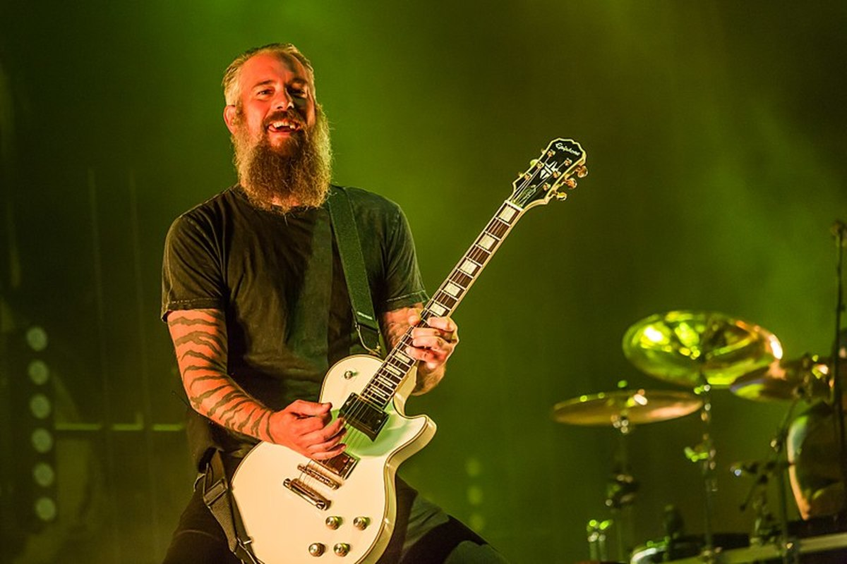 Bjorn Gelotte of In Flames playing his Epiphone Les Paul Custom signature guitar.