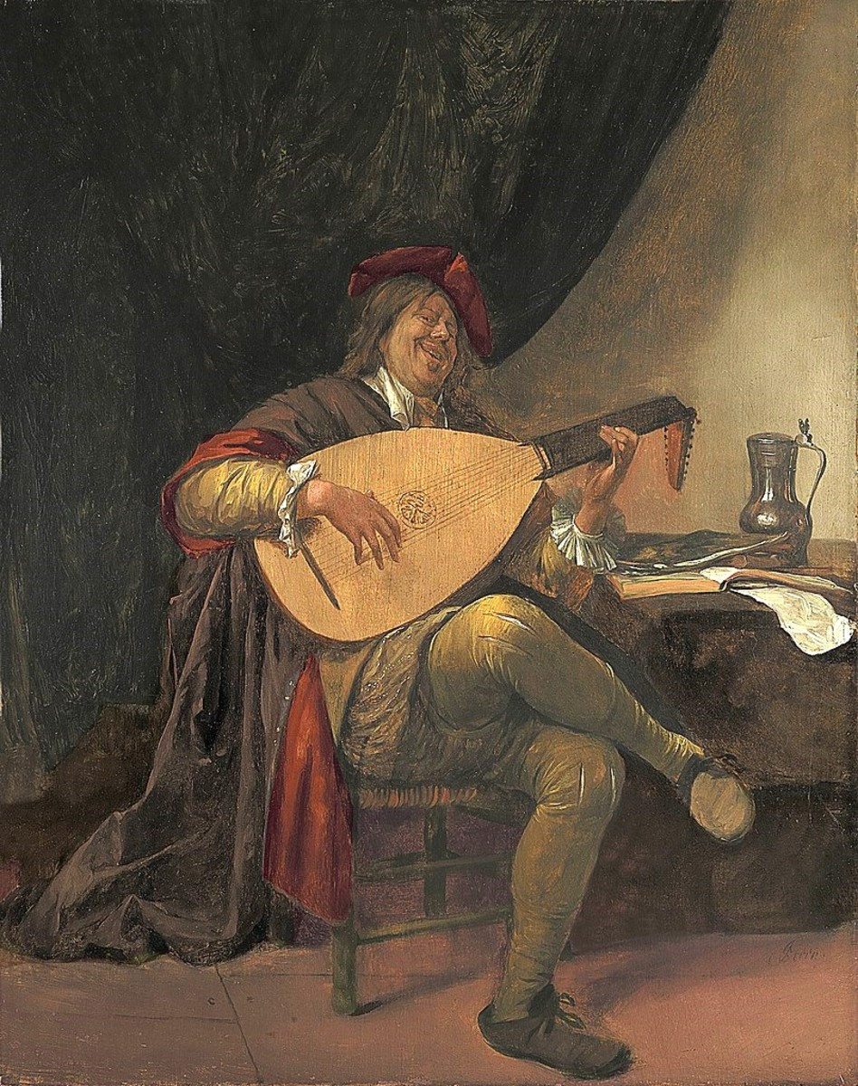 Self-portrait playing the lute by Jan Steen (1625/1626-1679)