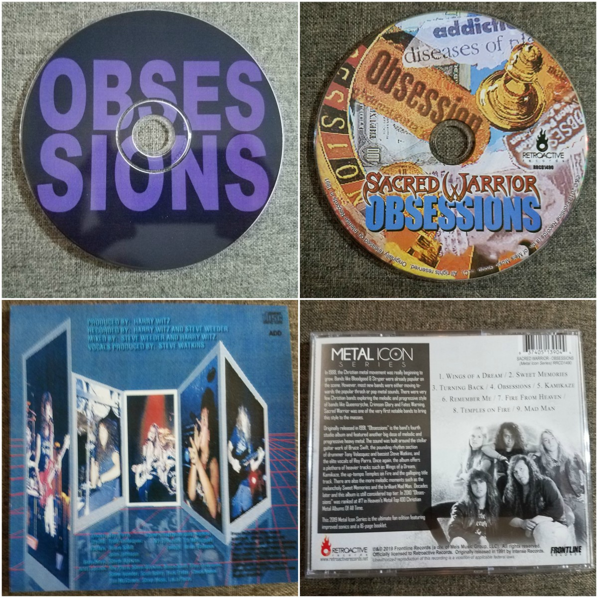 Left pix: disc print and back cover of CD-R bootleg version. Right pix: disc print and back cover of legit Retroactive Records reissue.