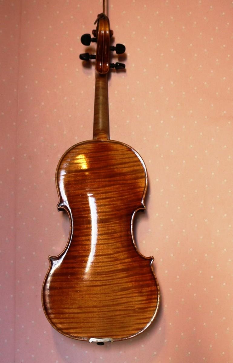 Completed violin repair (back)