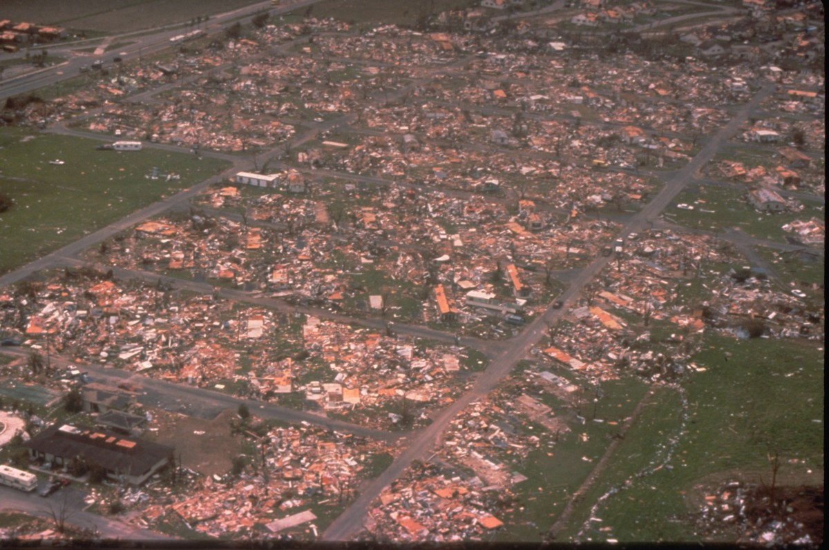 Hurricane Andrew was a Category 5 Atlantic hurricane that struck the Bahamas and Florida in August 1992.  It caused 65 deaths and $26.5 billion in damage.  Shown here is a devastated mobile home community.