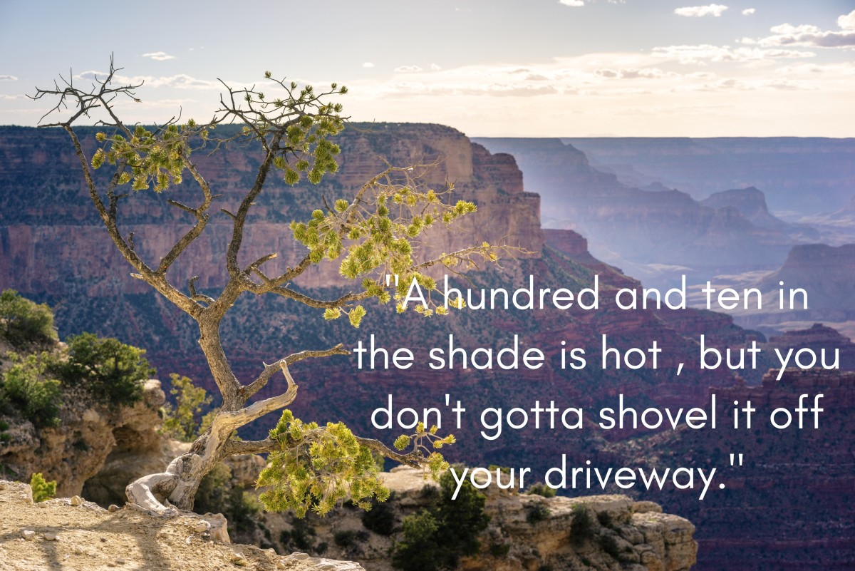 """Arizona saying: """"A hundred and ten in the shade is hot, but you don't gotta shovel it off your driveway."""""""
