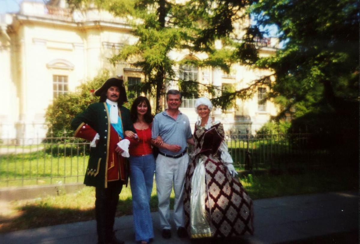 My fiancee, Bella, and I posing with Peter the Great and his Queen inside the Peter and Paul Fortress in St. Petersburg, Russia)