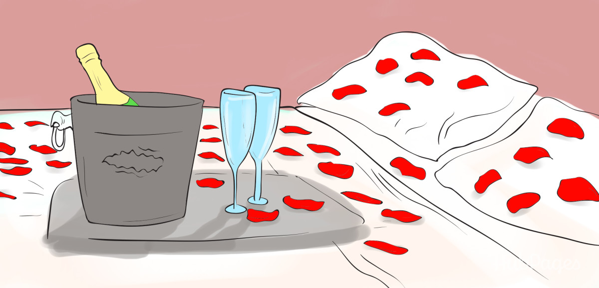 Create the setting for your romantic night by getting a fancy hotel and arranging for rose petals and champagne.