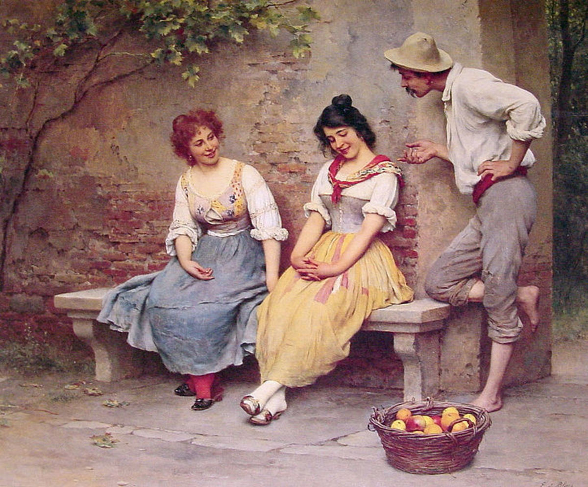 "Eugene de Blaas ""The Flirtation"""
