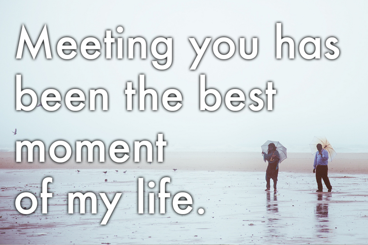 Classic words of romance: 'Meeting you has been the best moment of my life.'