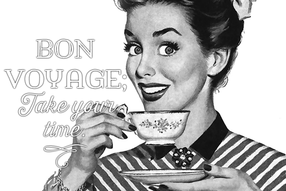 Funny 'bon voyage' message: Bon voyage; take your time.