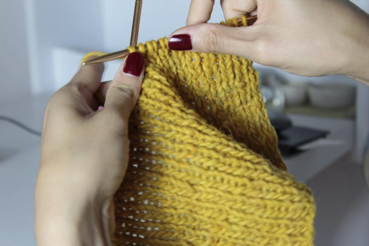 Knitting is a great way to pass the time.
