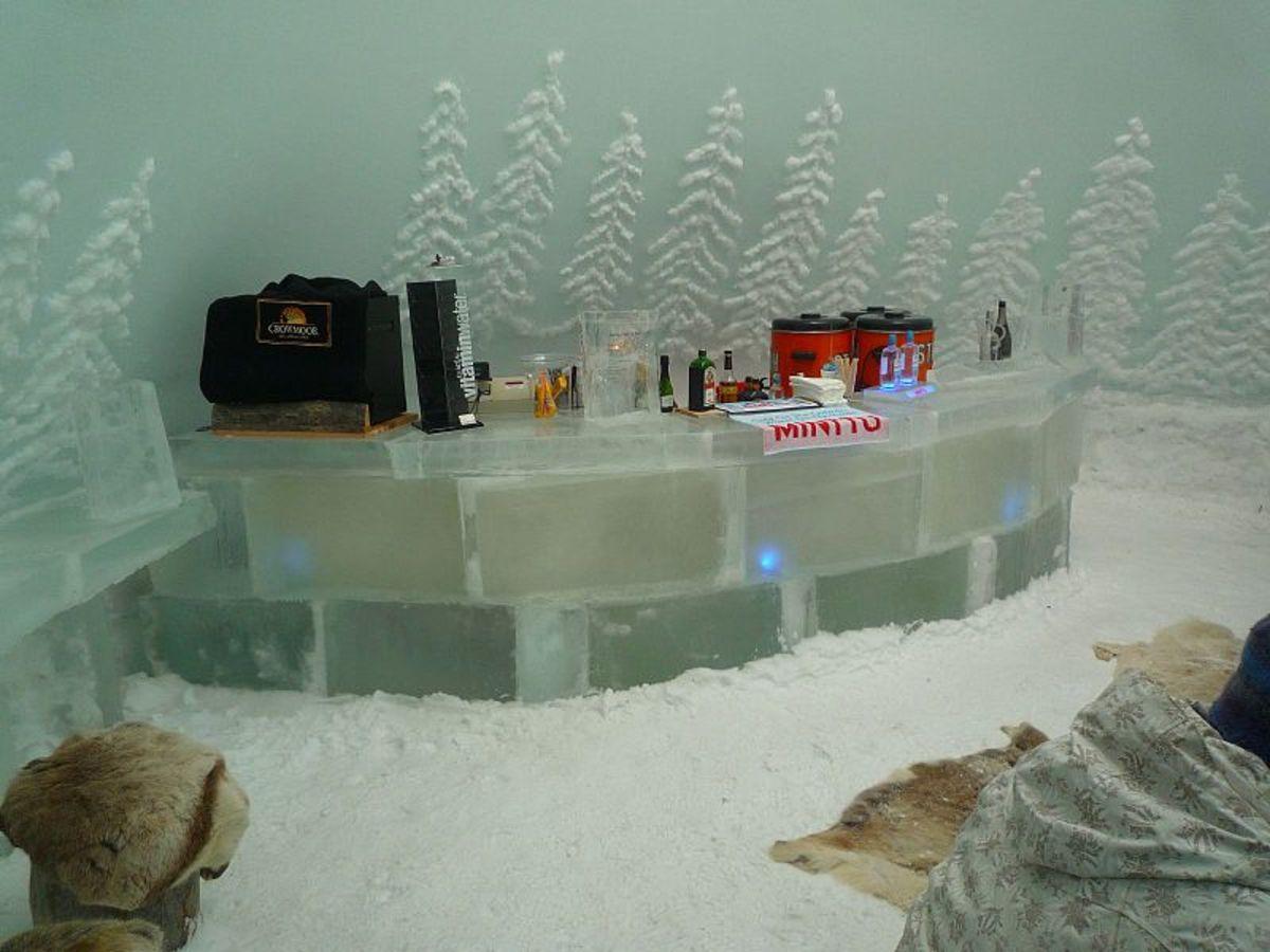 Inside the ice bar at Chalet Ruka Peak in Ruka, Finland