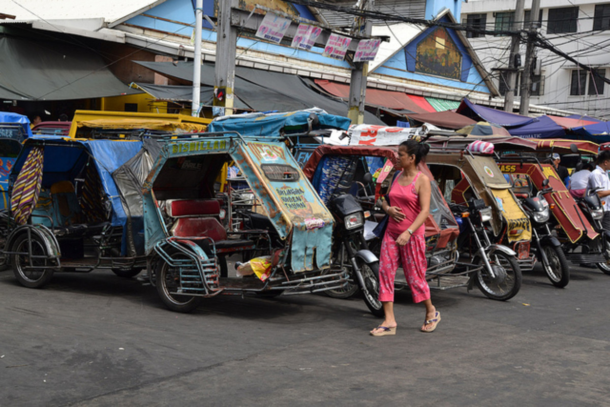 A trisikad, or tricycle, in the Philippines.
