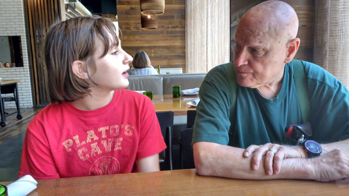 My daughter took a trip to Missouri last summer to spend some quality time with her grandparents.  Here she is chatting with her Grandpa on the day of her arrival.