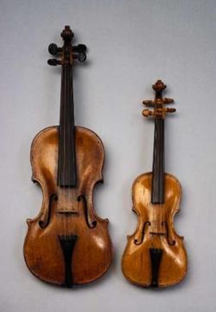 The instrument on the right is a violino piccolo; an ordinary violin is on the left.
