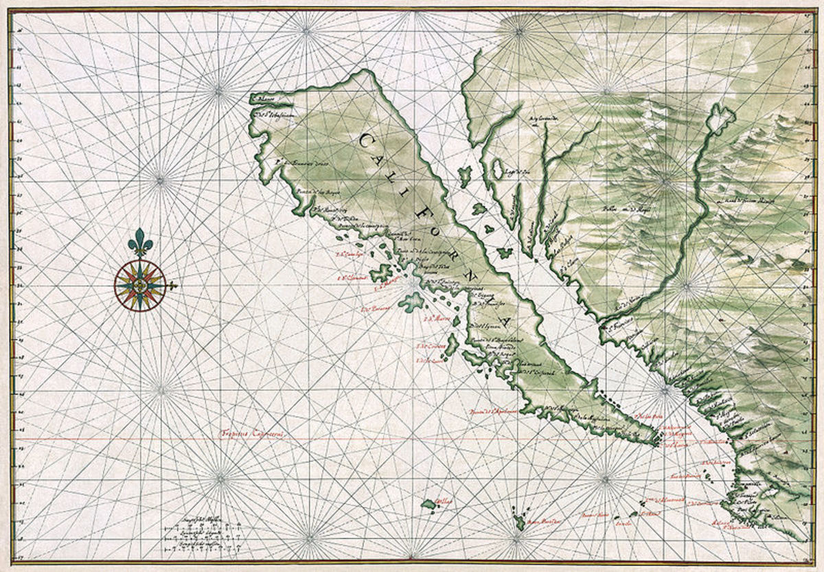 An early map of California, then supposed to be an island.