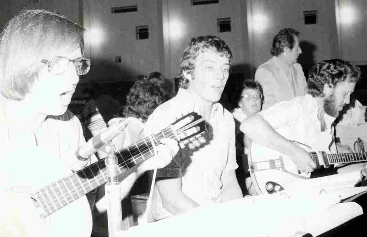 Tony McGregor (left) singing in Assumption Parish Church, Durban, c 1974